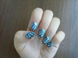 Butterfly nail art by Hrasulee