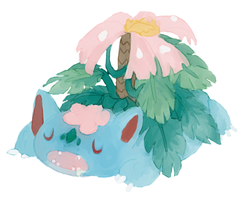 Sleepy Mega Venusaur by NimbusOwl49