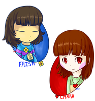 Chara and Frisk by CrystalMyu