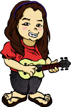 Caricature of my friend Gili with a ukulele by ojneb12