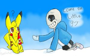 Pikachu and Sans  by PokefoxArt