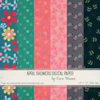 April Showers Digital Paper by Rene Blooms by SunnyFunLane