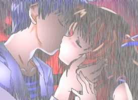 anime couple kiss WITH RAIN by SargeMcCluck