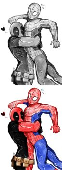 Commission: Deadpool and Spiderman Bromance by Smudgeandfrank
