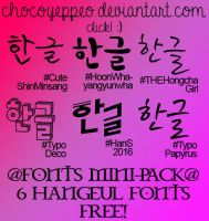 6 Hangeul Fonts Pack (MiniSHARE) by ChocoYeppeo