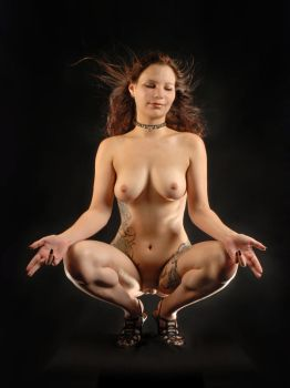 2721 Nude Woman in Baphomet Pose by artonline