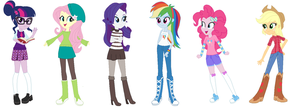 The  EQG Mane 6 new outfits by Imtailsthefoxfan