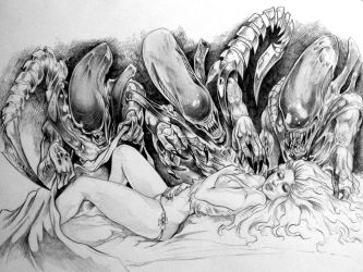 Goldilocks And The 3 Aliens WIP  By DW Miller by ConceptsByMiller
