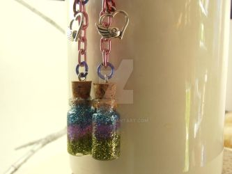 Short Dangle Vial Earrings by purp1