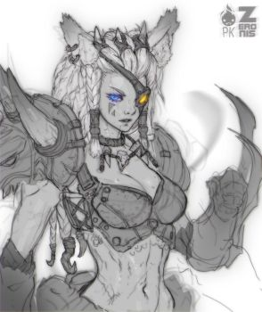 Human Female Rengar Fan Art by Zeronis