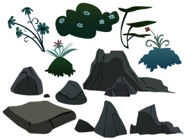 Everfree Rocks and Plants by BonesWolbach
