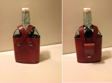 Leather Flask Case by JN-Leather