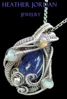 Tanzanite and Ethiopian Opal Pendant in SS by HeatherJordanJewelry