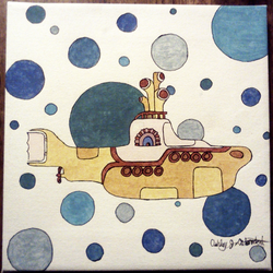 Yellow Submarine on Canvas by AJBurnsArt