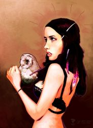 Calamity Amelie and her Owl by pierrepailhe