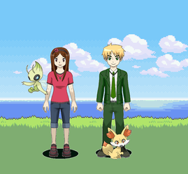 Sailor and Arthur with their Pokemon by OHSHCFangirl01