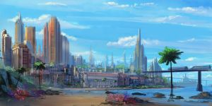 tall city concept by TylerEdlinArt
