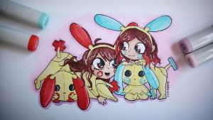Plusle and Minun by RScintillae