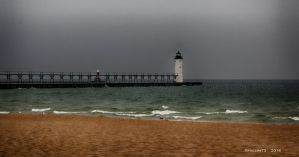 Manistee Lighthouse during a downpour by Foozma73