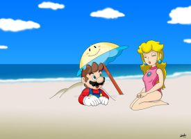 Mario and Peach at the Beach by FamousMari5