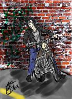 Kev on a Motorcycle: Request by puppet-bear489