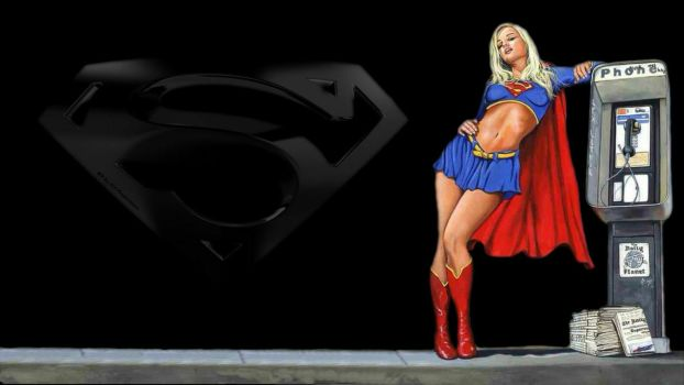 Supergirl Wallpaper At The Phone Booth by Curtdawg53