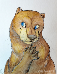Otter Watercolor by CliffeArts