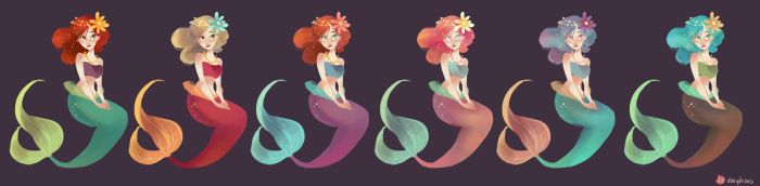 Mermaids color study by hyamei