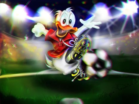 Football with Donald Duck by LagunaXxX