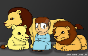 Daniel in the Lion's Den by KittyMelodies