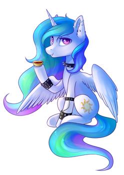 Badass Celestia with some tea. by Ghst-qn