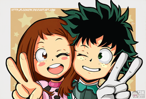 Ochako Uraraka and Izuku Midoriya. by Locke3K