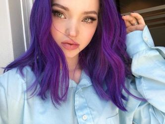 Goddess Dove Cameron with purple hair. by Goddessgg