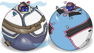 Mei her and D.va be blueberries colorized by BittyHeart