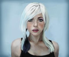 Whitehaired girl portrait by JordyLakiere