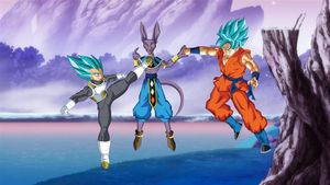 Vegeta and Goku SSGSS vs Lord Beerus Wallpaper by DragonBallAffinity