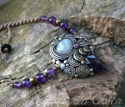 Waves and Spirals Necklace Amethyst Moonstone by EnchantedTokenArt