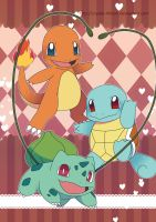 Kanto Starter Pokemon by Crystal-Ribbon