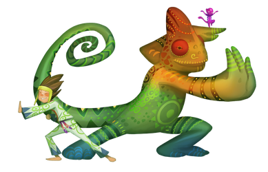 Chameleon and Kid by froggiechan