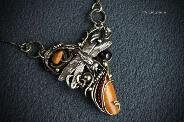 brass necklace with amber and garnets by MDorothy