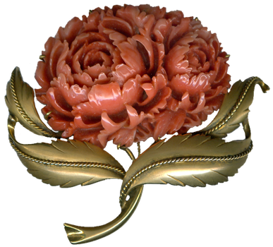 Vintage Coral Flower Brooch by EveyD