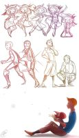 Tintin and Madeline sketches 2 by RadioMomo
