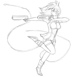 Gunner - Rough Lineart by Vancore