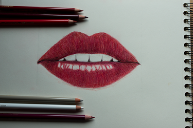 drawing lips by 12whoami