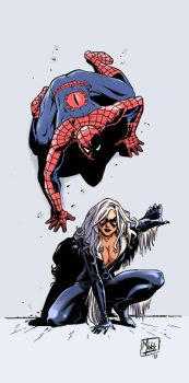 Pin up Spidey_Black Cat by MinckOosterveer