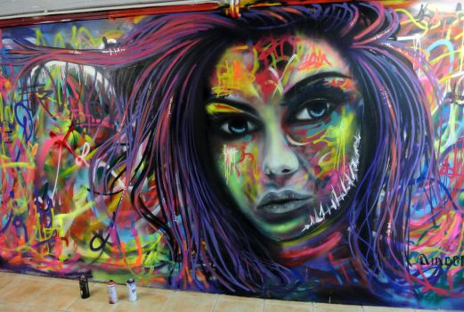 Spray paint mural 8m2 by Airgone