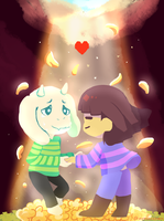 Pacifist Frisk and Asriel by Ayachiichan