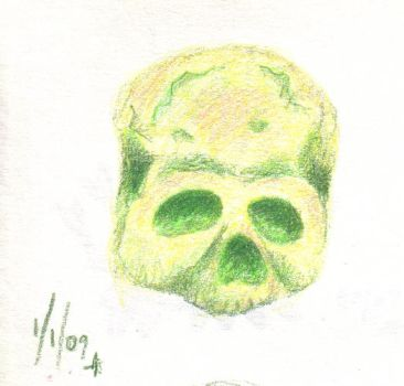 Sketchbook page, 1/1/09 - Yellow and Green Skull by ilianexsi