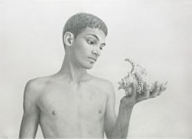 Young Man Looking at a Seashell, pencil drawing by Denish-C