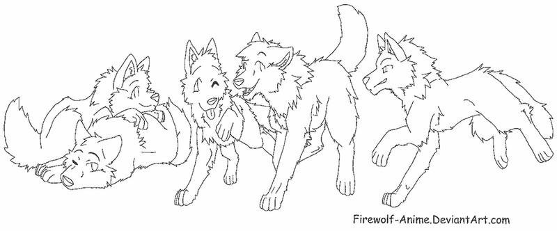 Wolf Group of 5 Lineart by Firewolf-Anime